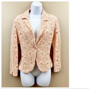 Adrienne Vittadini Lace Blazer Jacket Size M Pink